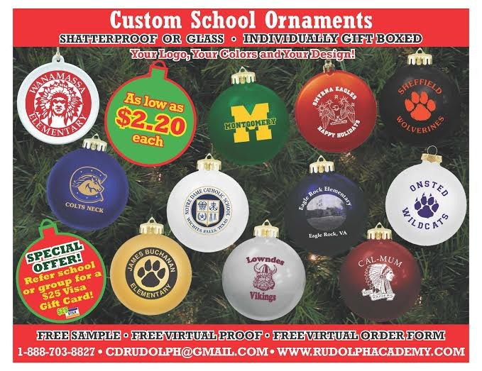 <h5>Custom School Ornaments</h5><p>Custom School Ornaments are great for a school fundraiser.</p>