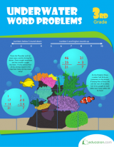 <h5>3rd Grade Word Problems Workbook</h5><p>This 3rd Grade Word Problems Workbook is printable. Find underwater themed word problems to discover numbers to round, and multiple step problems to put kids through the four operations.</p>
