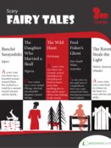 <h5>3rd Grade Fairy Tales Workbook</h5><p>This 3rd Grade Fairy Tales Workbook is printable. Practice reading comprehension with a wide variety of world tales, some famous and some little-known. The book shines a light on supernatural stories, monstrous myths, and terrifying true-life tales.</p>