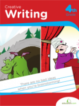 <h5>4th Grade Writing Workbook</h5><p>This 4th Grade Writing workbook is printable. This workbook teaches  both formal, research-based writing as well as creative writing. These open-ended exercises help kids write dialogue and exposition while crafting essays or stories.</p>