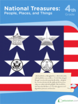 <h5>4th Grade Reading Workbook National Treasures</h5><p>This 4th Grade Reading Workbook National Treasures is printable. This workbook covers United States symbols including songs, buildings, documents and people. This is also introduction to the Constitution</p>