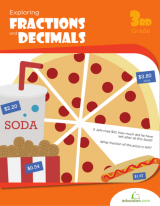 <h5>3rd Grade Fractions and Decimals Workbook</h5><p>This 3rd Grade Fractions and Decimals workbook is printable. Fractions and decimals are way more fun when you apply them to real life scenarios, like parties, food and pets! This workbook teaches kids all about splitting up numbers.</p>
