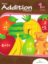 <h5>1st Grade Addition Workbook</h5><p>This 1st Grade Addition Workbook is printable. Make addition delicious! Kids will practice adding single-digit numbers with the help of some worksheets that are all about food.</p>