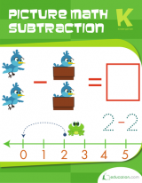 <h5>Kindergarten Picture Math Subtraction Workbook</h5><p>This Kindergarten Picture Math Subtraction Workbook is printable. Learn subtraction in a more visual setting using this series of picture math problems. Kids will cross out, color and draw simple equations to help them understand an important math concept.</p>