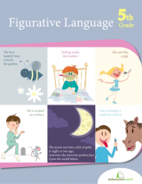 <h5>5th Grade Figurative Language Workbook</h5><p>This 5th Grade Figurative Language Workbook is printable. Descriptive language and metaphoric phrases take the spotlight in this workbook. Kids use new vocabulary and common phrases to tackle writing skills.</p>