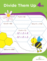 <h5>4th Grade Division Workbook</h5><p>This 4th Grade Division Workbook, Divide Them Up, is printable. This workbook gets kids ready to be expert dividers, challenging them with whole-number quotients, remainders and mathematical word problems.</p>